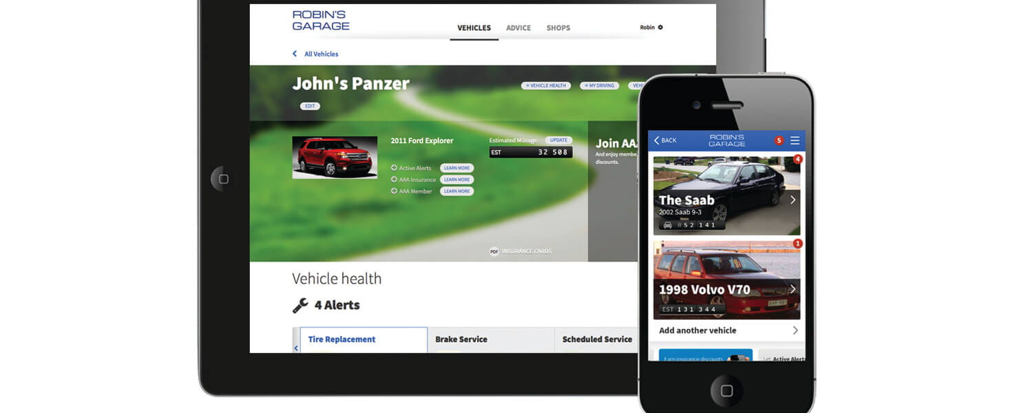 Example of an Online Garage account on a tablet and smartphone