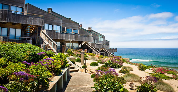 Oceanfront timeshare with landscaped yard