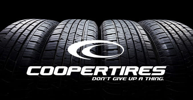Cooper tires logo with set of tires