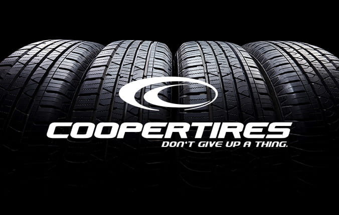 Set of tires with Cooperl tires logo