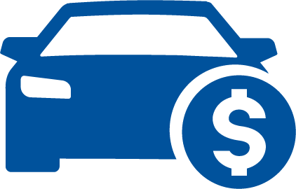 Blue Car Dollar Sign Auto Loans