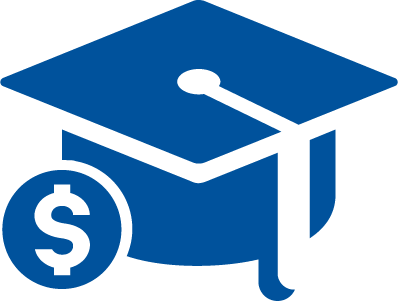 Blue Cap Dollar Sign Student Loan Program