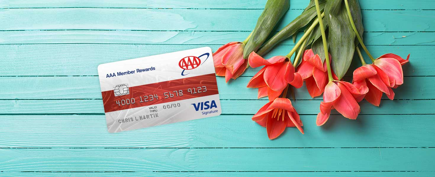 Picture of tulips with a member rewards visa card superimposed