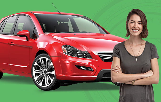 auto loans happy woman with her new car