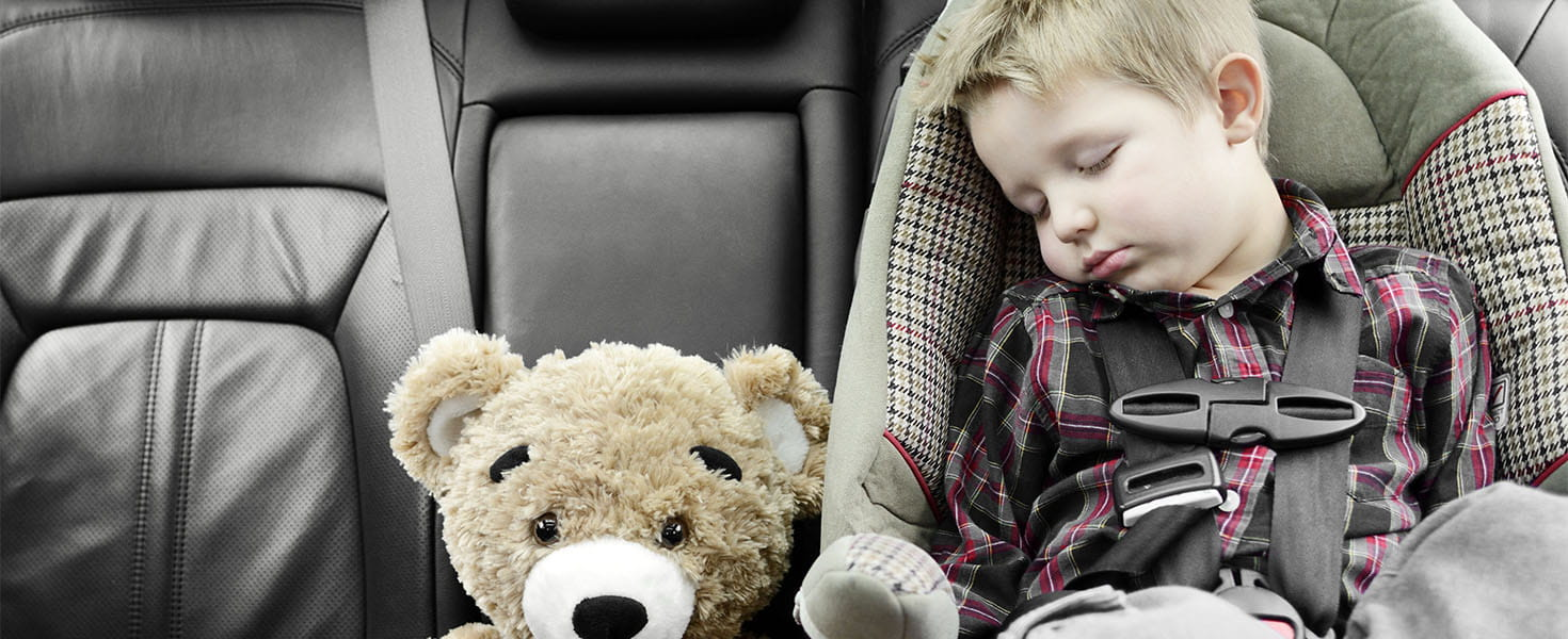 Baby sleep in carseat in a vehicle