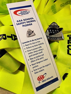 School Safety Patrol Pledge with AAA Pin Badges