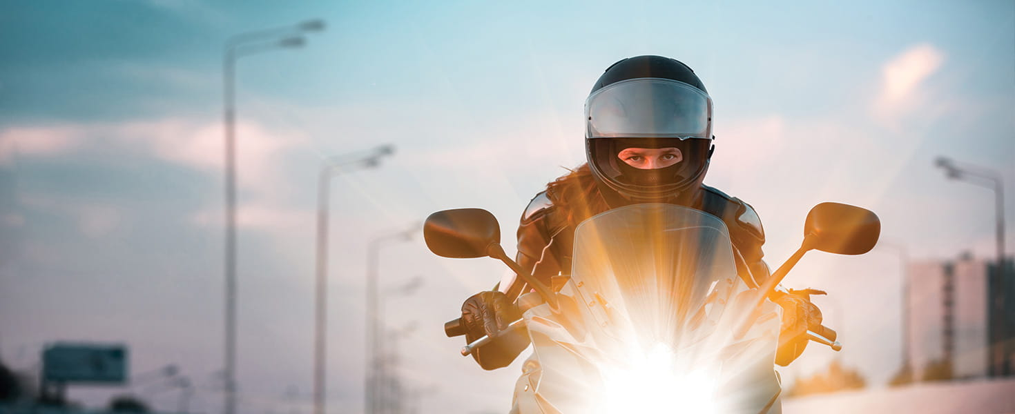motorcycle rider from the front with a helmet
