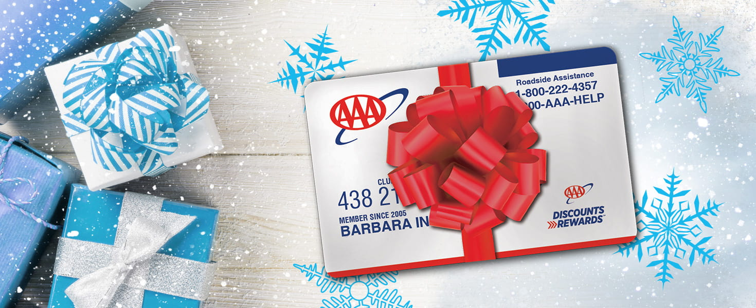 AAA Gift Membership Card with holiday bow and presents