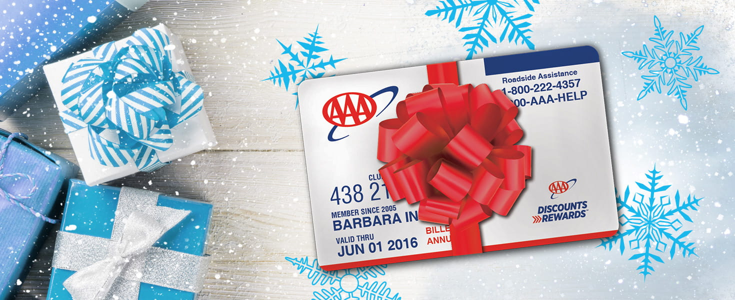 AAA Membership Wrapped in Red Bow with Blue Gift Boxes