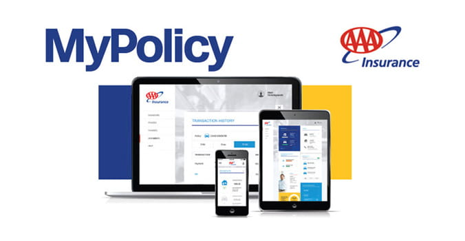 AAA policy screen on tablet, cell phone