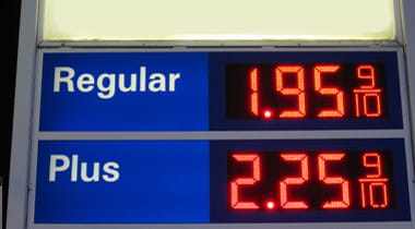 Gas station price sign