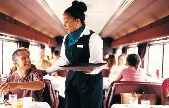 Dining car in Amtrak train