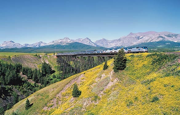 Amtrak Empire Builder East of East Glacier at Two Medicine trestle