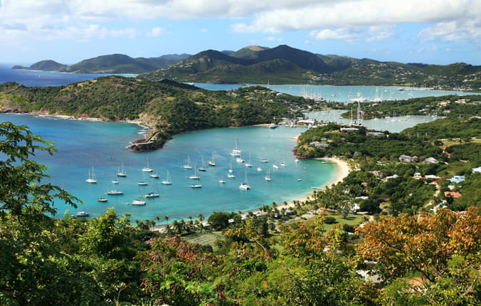Aerial shot of the island of Antigua