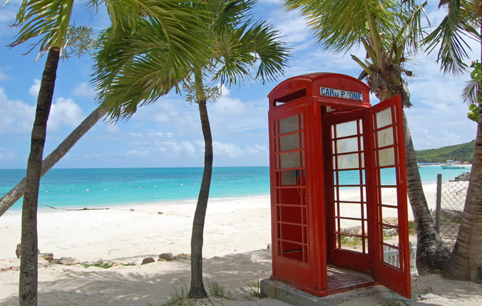 Phone Booth on the beach in Antigua