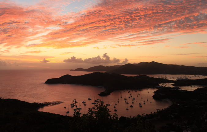 Sunset over the English Harbor in Antigua