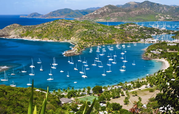 Aerial view of the English Harbour in Antigua