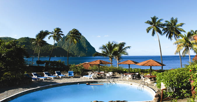 A Resort pool by the beach in St. Lucia