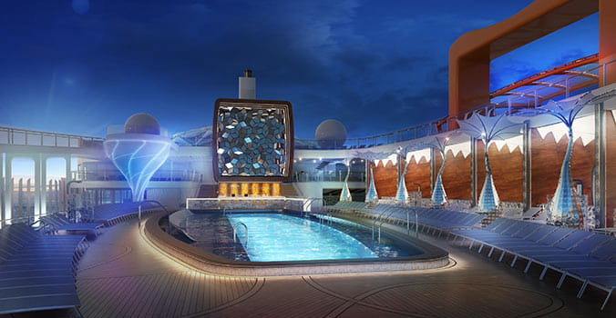 Pool deck at night on the Celebrity Edge