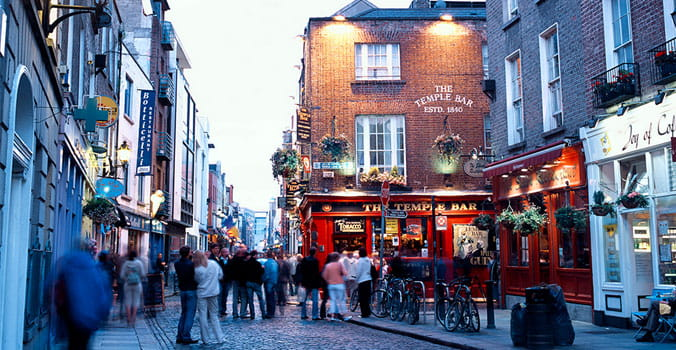 Tourists walking through the streets of Ireland