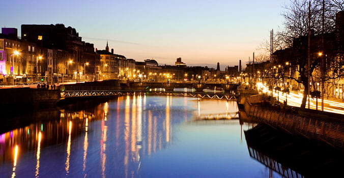 Nighttime view of ireland river