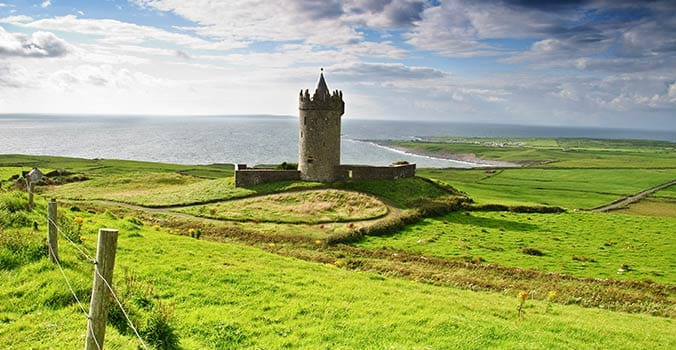 Beautiful landscape with ancient Irish castle in Doolin.