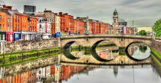 View of Mellows Bridge in Dublin Ireland.