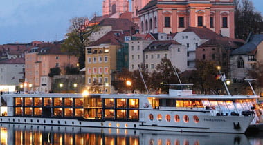 Prima Donna on European River at Night