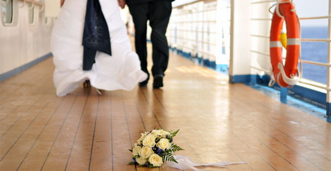 Wedding couple walking on cruise ship