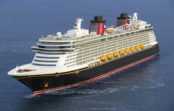 A disney cruise liner out at sea