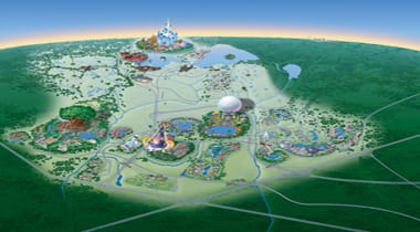 An animated map of Walt Disney World