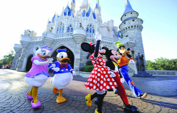 Disney characterts skipping and waving to guests