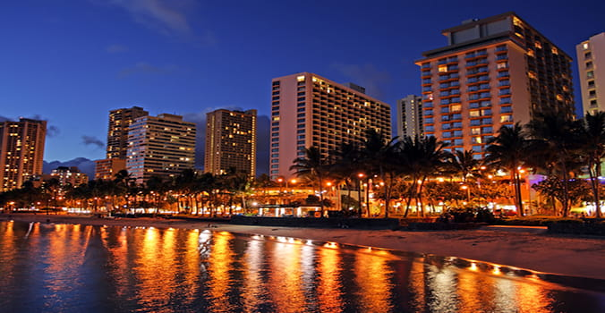 Downtown Hawaii lit up at night
