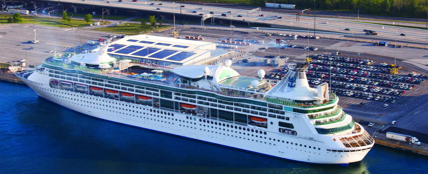 Aerial View of Cruise Ship in New England Docks