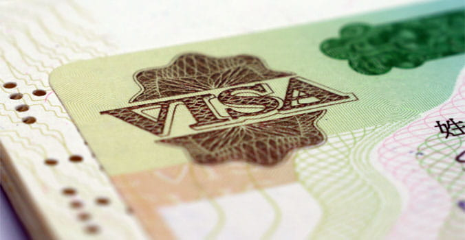 Close up of Visa Passport