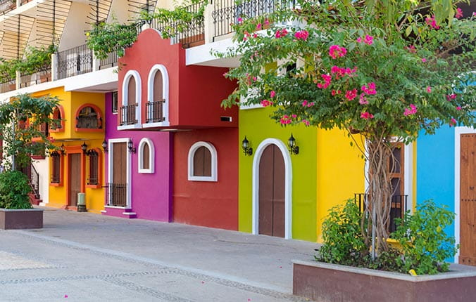 Traditional Brightly Colored Mexican Buildings
