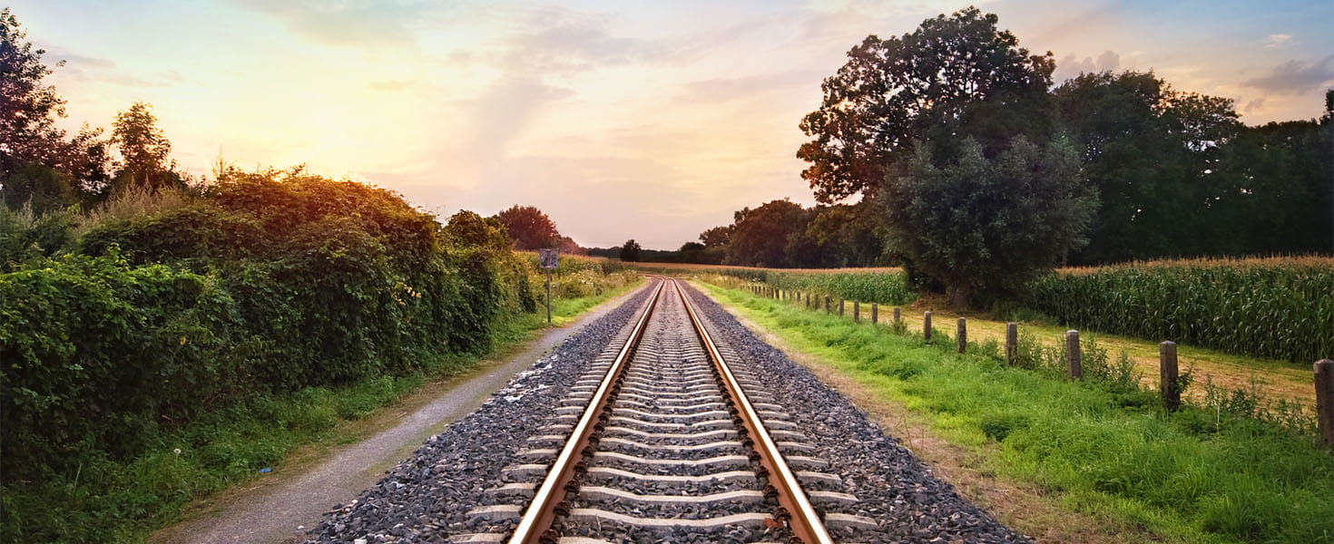 Railway tracks with Sunset in the background