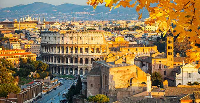 View of Colosseum in Rome Italy