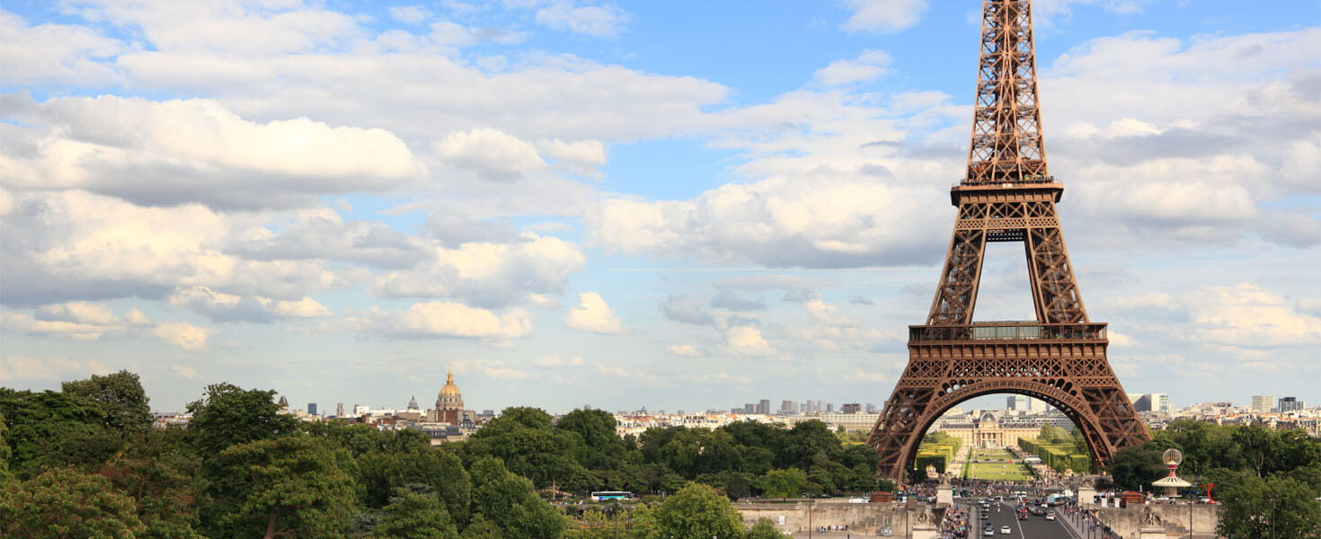 Eiffel Tower in Paris with a blue sky