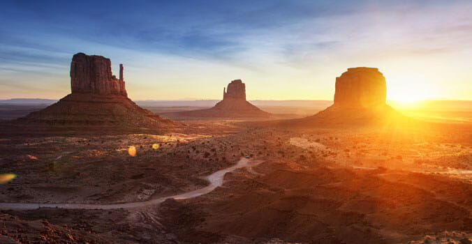 Beautiful sunset overlooking Monument Valley
