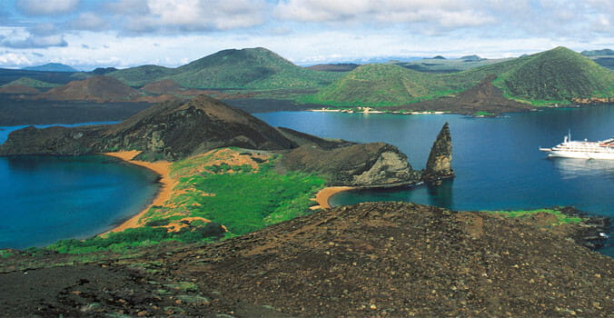 Aerial View of Galapagos Island and Cruise Ship