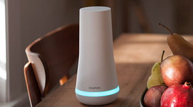 Simplisafe unit sitting on end table.