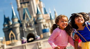 Children having fun at Disney in front of the castle