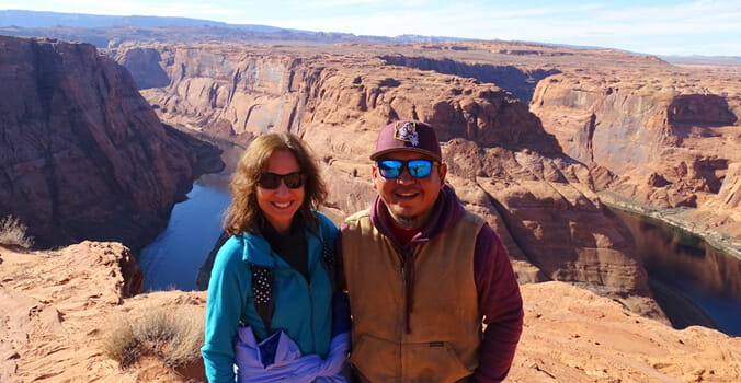 with Chance the Navajo tour guide at Horseshoe Bend