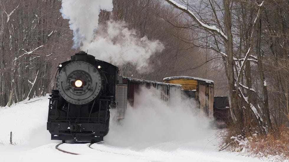 Railroad Train, Old Steam Locomotive Pulling in Winter