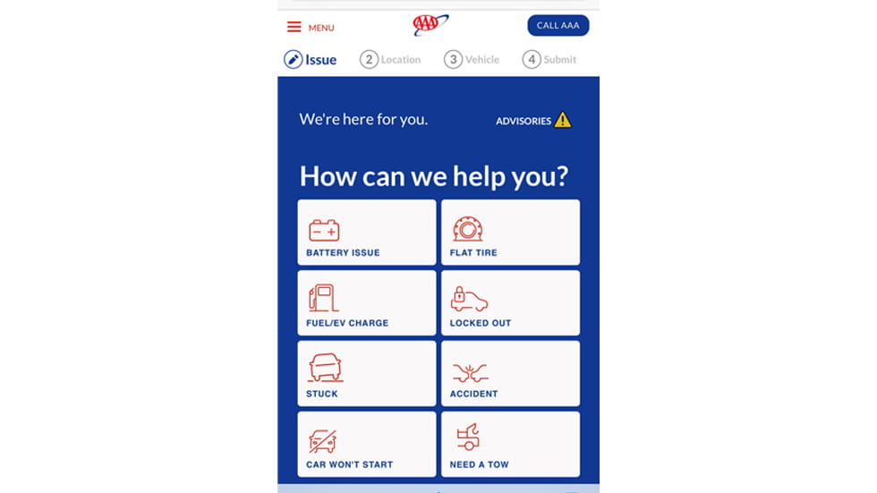 Screenshot of AAA Roadside Assistance App