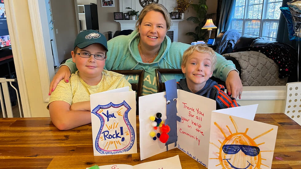 Family Creates Thank You Cards for Heros