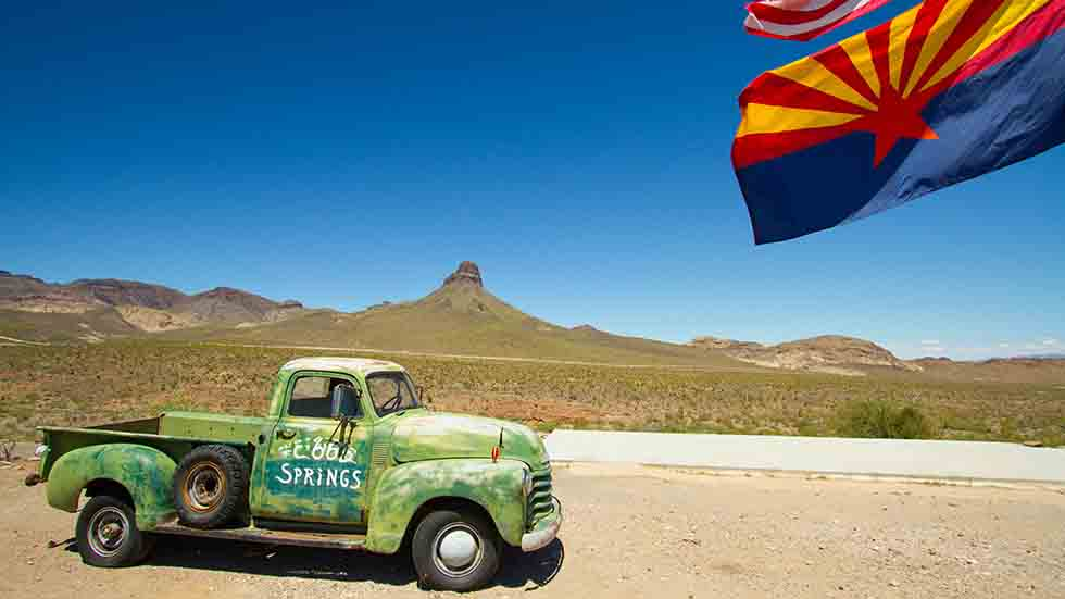 AZ Road Trip Vintage truck in western Arizona near Route 66 Photo credit Arizona Office of Tourism